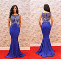 elegant navy blue long evening dress o neck beaded slim dinner dress women pageant gown for formal prom party vestido de festa