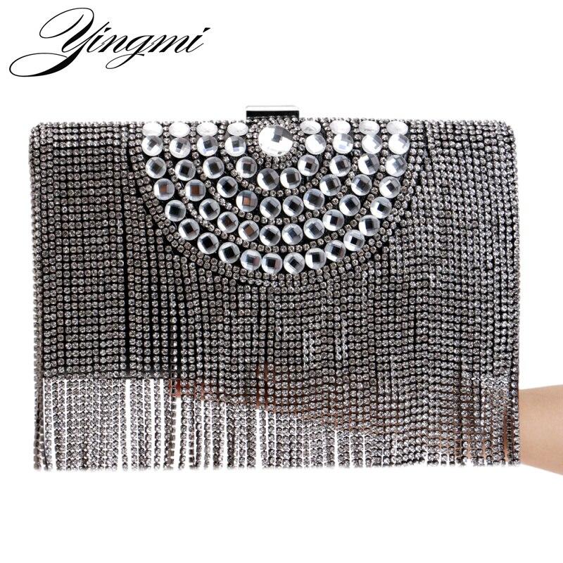 YINGMI One Side Rhinestones Tassel Women Evening Bags Beaded Gold/Silver/Black Day Clutches Purse Evening Bags For Wedding стоимость
