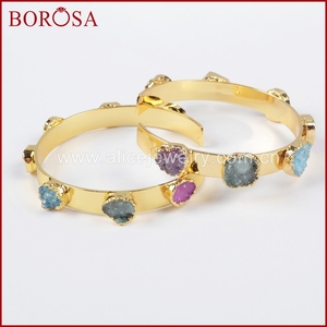 Image 5 - BOROSA Mix Colors tiny druzy bangle colorful 7 stones Crystal  druzy bracelet bangle fashion jewelry gems for women G1098