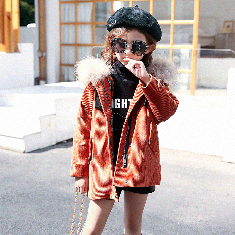 Girls cotton coat 2018 new winter clothing long coat children's baby cotton clothes fur collar hooded thick warm cotton jacket