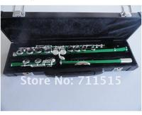 Chinese Army Green Silvering 16 Holes Closed C(C) Flute Plus the E Key Flute Obturator Musical Instrument Metal Flut