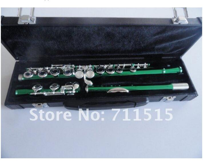 Chinese Army Green Silvering 16 Holes Closed C(C) Flute Plus the E Key Flute Obturator Musical Instrument Metal Flut купить