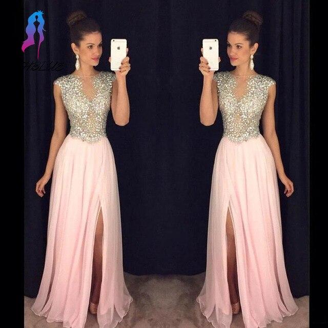 Blush Rhinestones Prom Dresses Long Chiffon Party Dress Cap Sleeve ...
