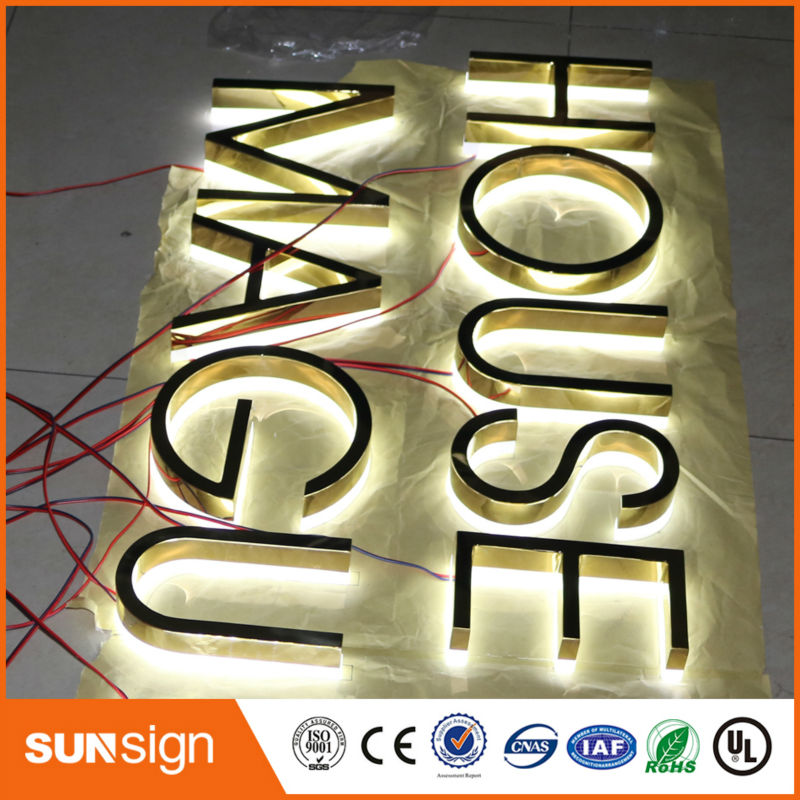 Dimensional Golden Backlit Letter Stainless Steel Channel Letter With Acrylic Back For Exterior Business Sign Letters