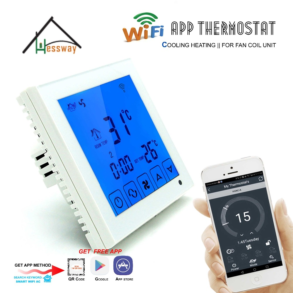 Touch Screen LCD Display Weekly Programming 3 Speed Fan Coil Units THERMOSTAT WIFI For 4Pipe 2p iec certificate programmable timer smart touch screen fan coil thermostat with aluminum alloy wire drawing silver