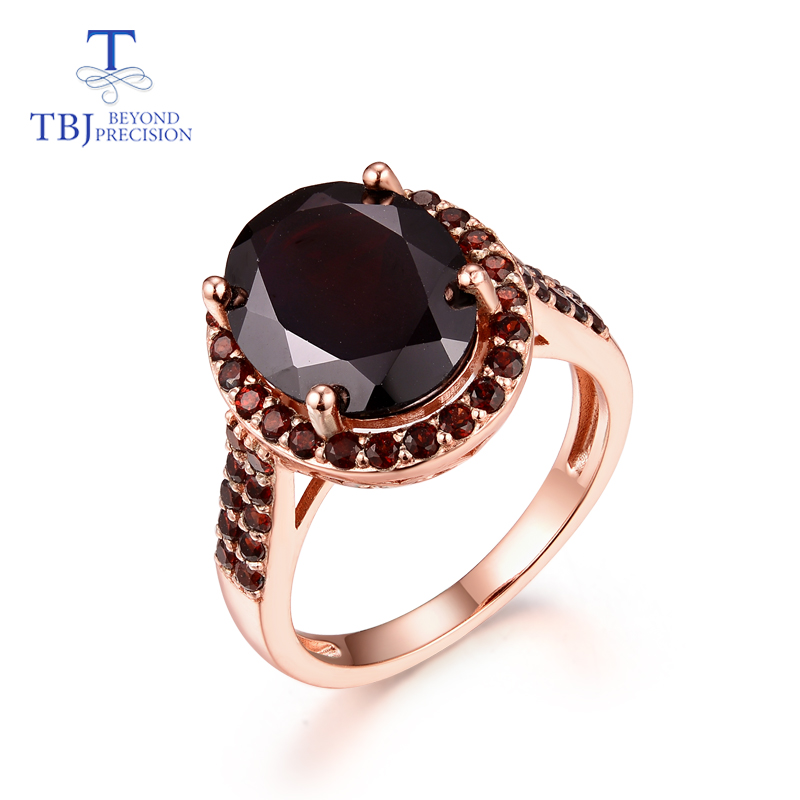 Natural gemstone black garnet ring sterling silver 925 ring classic style suitable for lady engagement daily