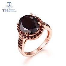 Кольцо с натуральным драгоценным камнем, Черный гранат, Стерлинговое серебро 925, кольцо в классическом стиле, подходит для помолвки и повседневной носки, хорошее ювелирное изделие