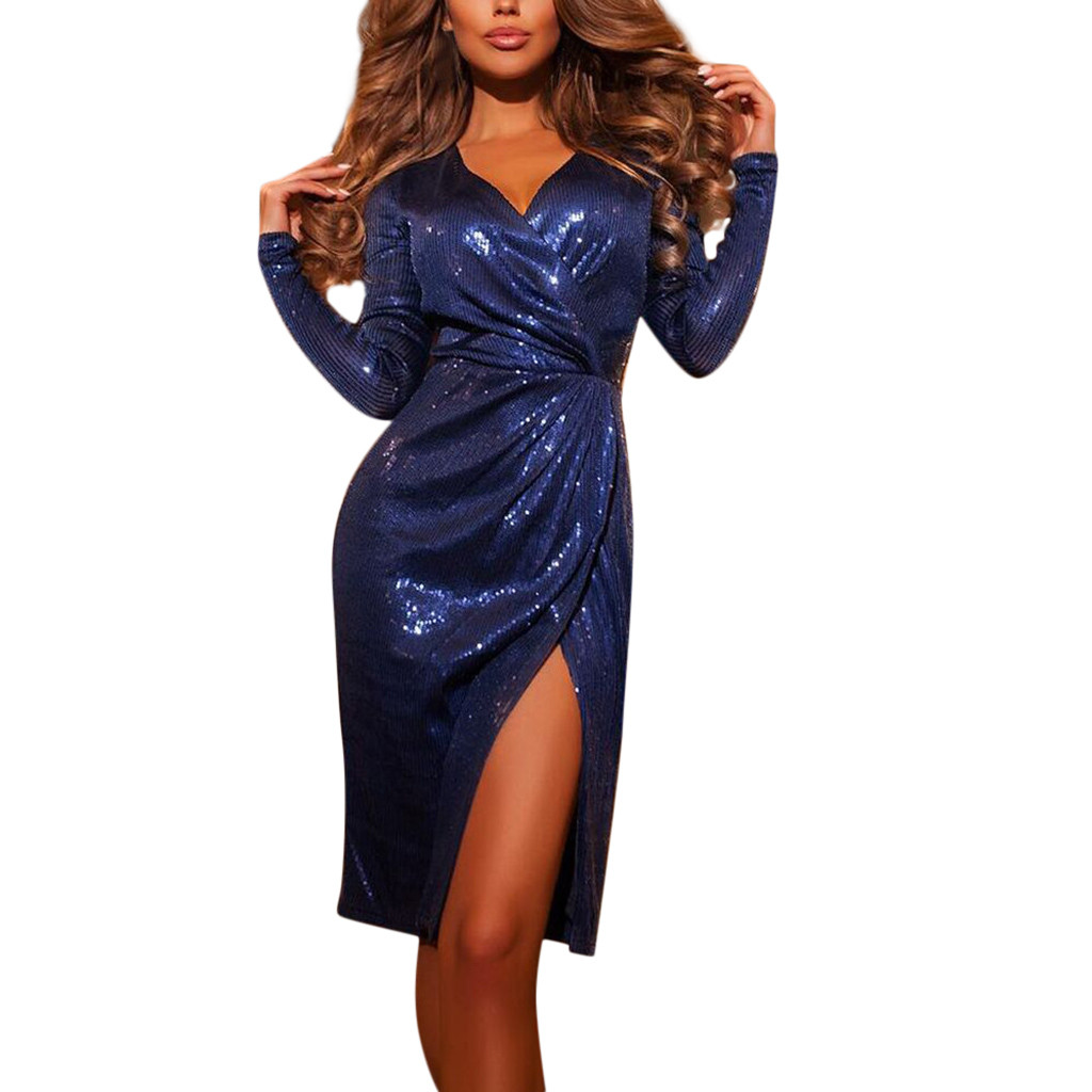 NEW Dresses 2019 Women Sexy Solid V-Neck Sequined Stitching Shining Ruffled Split Hem Mini Dress vestidos femininos