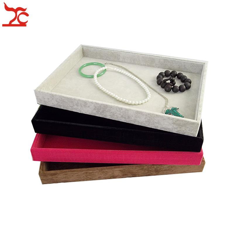 Wholesale new arrival ice velvet jewelry display flat tray for Big box jewelry stores