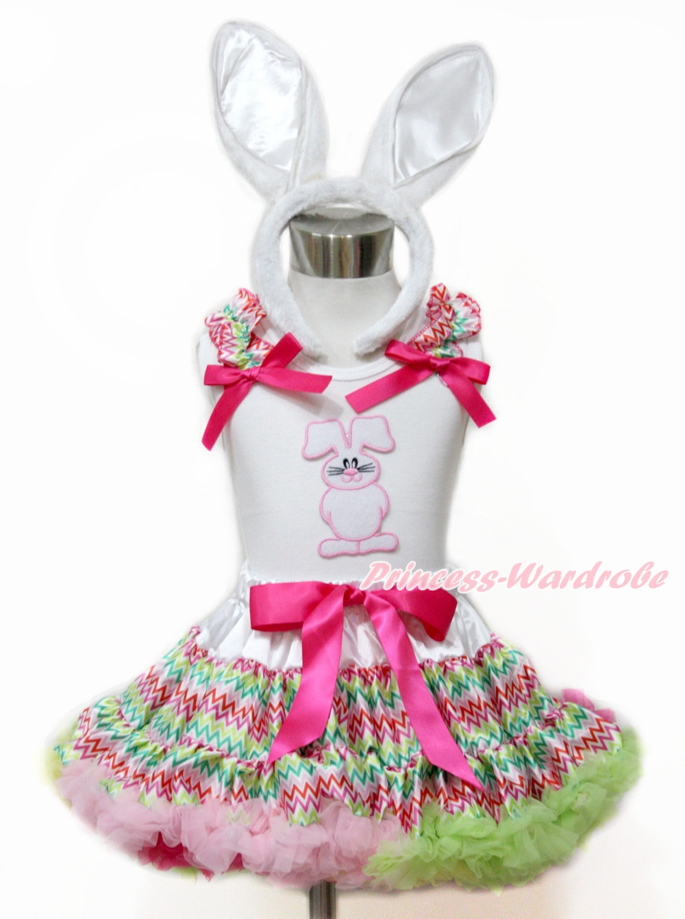 Easter Baby Girl Easter Rabbit Bunny White Top Shirt Rainbow StripePettiskirt 1-8Year MAMG1099 rhinestone happy easter white top shirt hot pink bunny rabbit satin trim baby girl skirt set 1 8y mapsa0494