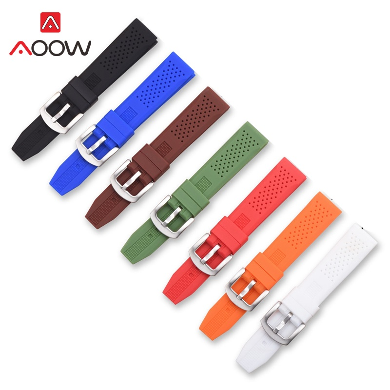 AOOW General Watchband Silicone Watch Strap Bands Waterproof 16mm 18mm 20mm 22mm 24mm Watches Belt Men Women Sport Watchbands in Watchbands from Watches