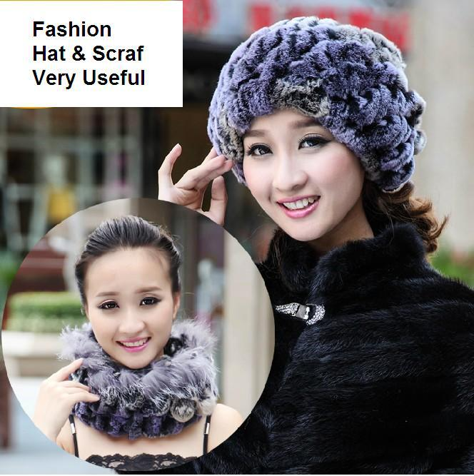 ФОТО H749-excellent  cap with natural rex rabbit fur gradient color winter thicken scarf one piece  colorful women fur hat