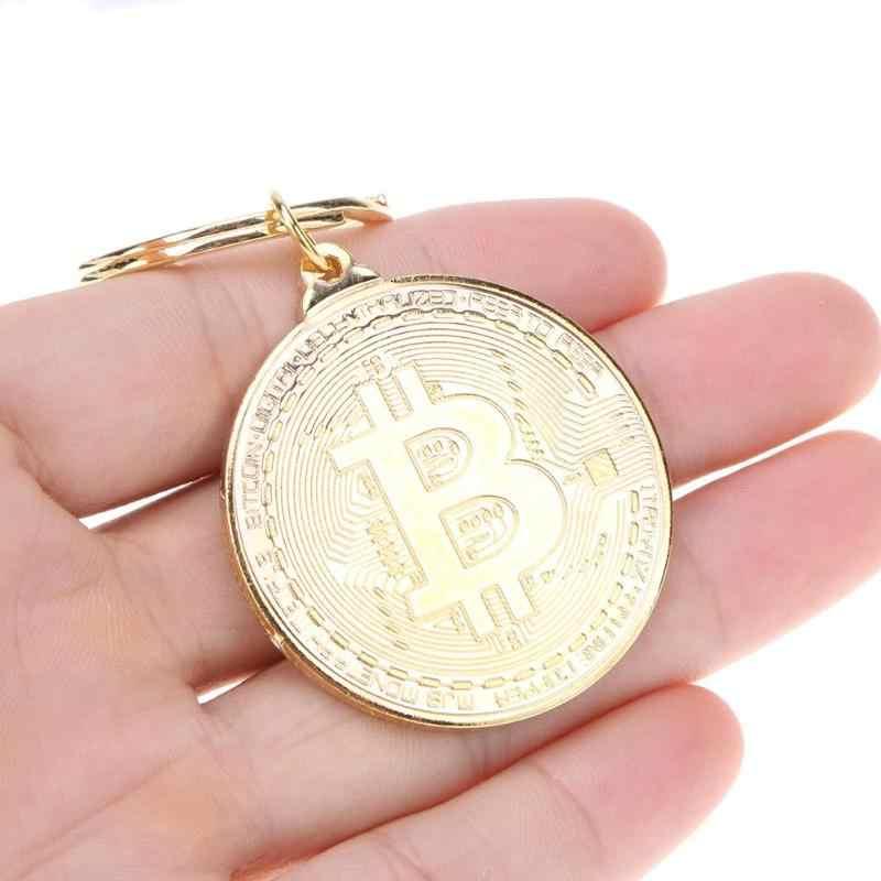 Модный сплав Биткойн-брелок серебро, золото, розовое золото Винтажный стиль памятные монеты брелок для ключей Подвеска для женщин мужской подарок