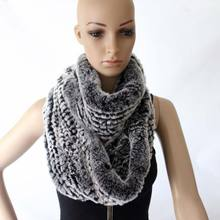 Women fashion winter warm long 2 two circles soft genuine rex rabbit fur wraps ring real scarf ladies shawls
