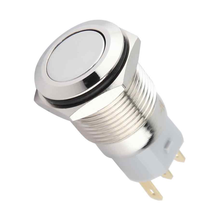 Interrupteur interrupteur 40 pièces 16mm métal momentané bouton poussoir interrupteur réinitialisation automatique tête plate 3 broches interrupteur à bascule