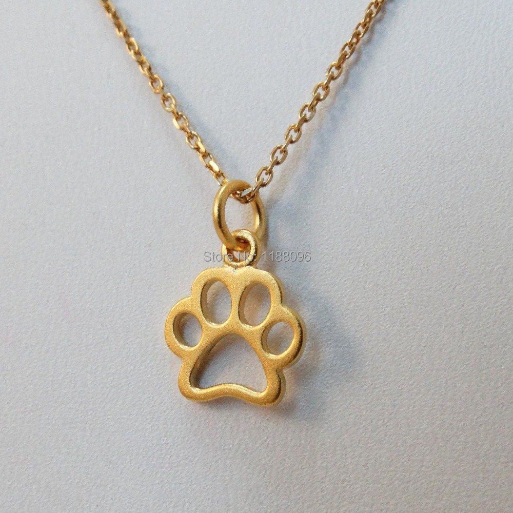 best selling tiny paw necklace 24k gold plated low price gold dog