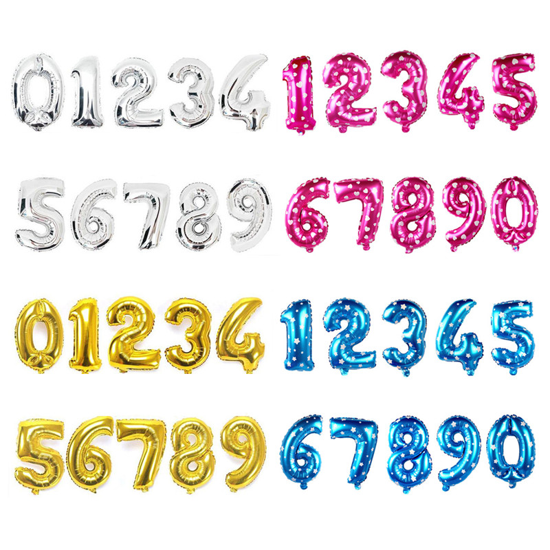Digit Party Ballons 16 inch Gold Silver Birthday Number Letter Balloon Pink Foil Helium Balloons Wedding Party Decor Balloon