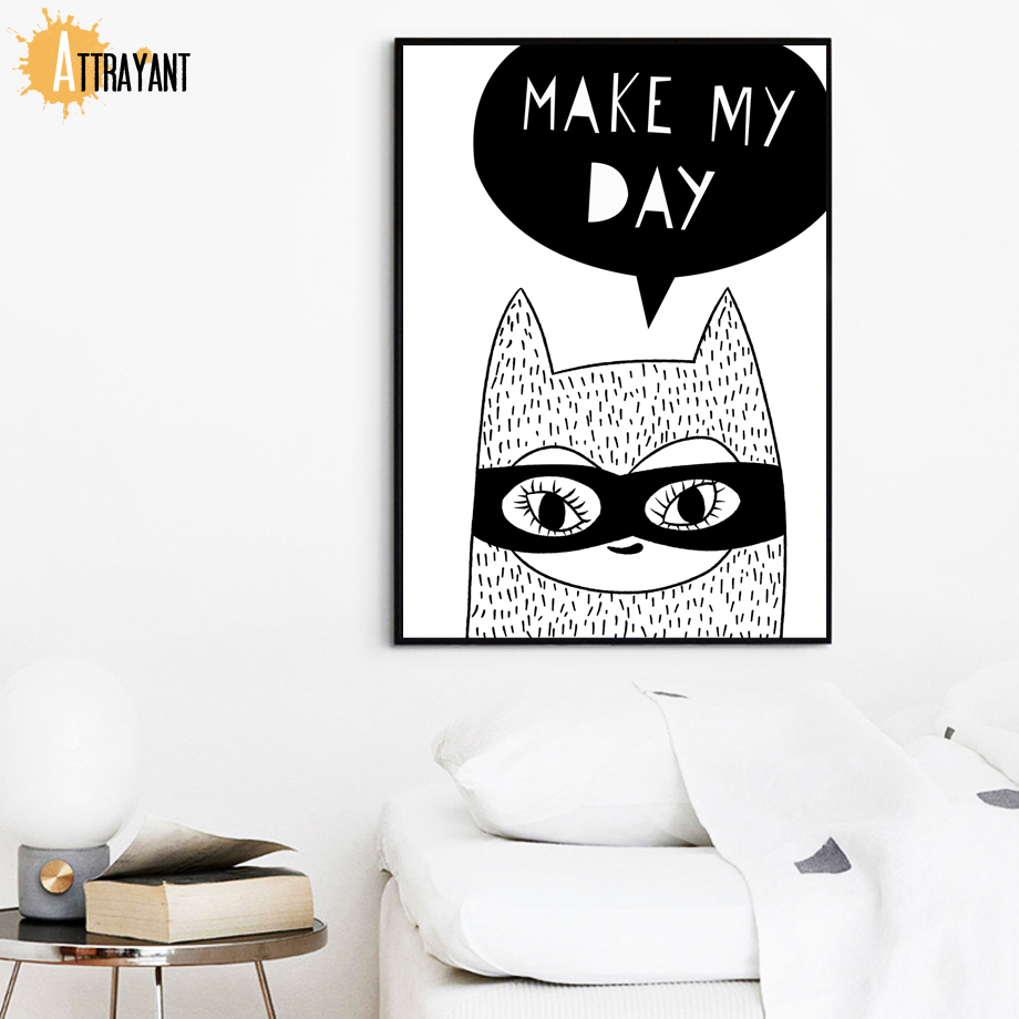 Cat Mask Quotes Wall Art Canvas Painting Nordic Posters And Prints Wall Pictures For Kids Bedroom Baby Boy Girl Room Home Decor in Painting Calligraphy from Home Garden