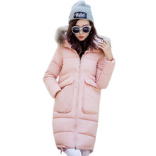 Long Big Fur Collar Winter Coat  2016 Solid Color Loose Hooded Cotton Padded Coat Thicken Warm Coat Parka Plus Size SS792
