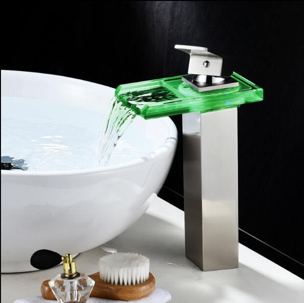Color changing Chrome/Nickel/Black oil LED Faucet Basin Faucet Bathroom Brass Waterfall Faucet Basin Faucet Sink Mixer Sink Tap water power faucet temperature controlled 3 colors led waterfall basin tap brass chrome bathroom faucet b 9001