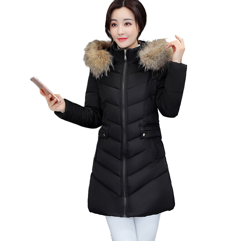 Winter Jacket Women 2018New Fashion Fake Raccoon Fur Collar Women Coat thick winter coat Women's Down Jacket long Winter Jacket 2017 winter new clothes to overcome the coat of women in the long reed rabbit hair fur fur coat fox raccoon fur collar