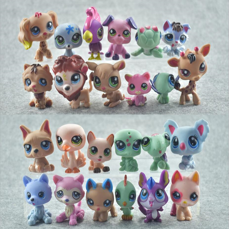 24pcs/set Lps Pet Shop Action Lps Toys Cute Short Hair Collections Animal Christmas Gifts lps toy pet shop cute beach coconut trees and crabs action figure pvc lps toys for children birthday christmas gift