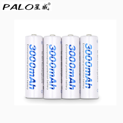 PALO 4pcs AA 3000mAh Rechargeable Battery NI MH 1.2V 2A Bateria Rechargeble Battery For Flashlight With 1 Battery Hold Case Box
