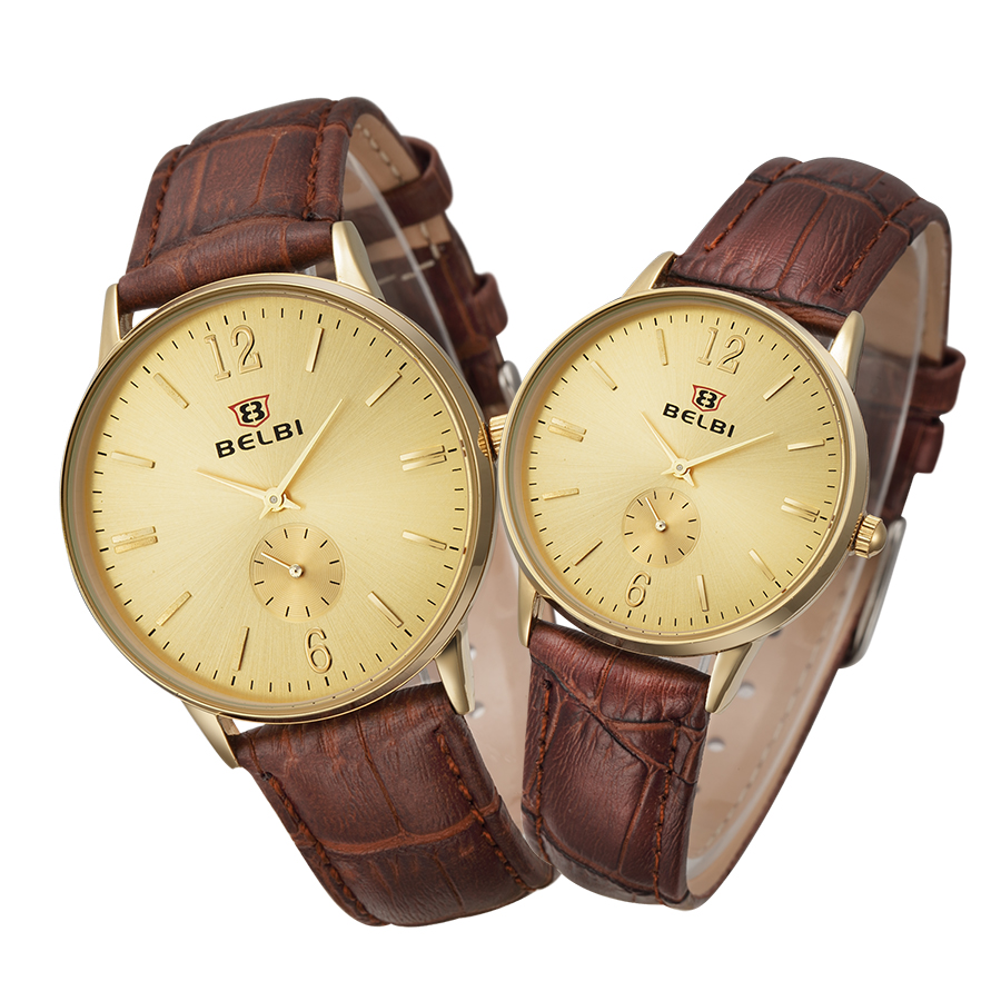 ФОТО 2016 BELBI Lovers' Watches Leather Strap High-quality Brand Watch Men's Business Women's Casual Fashion Wristwatch horloges man