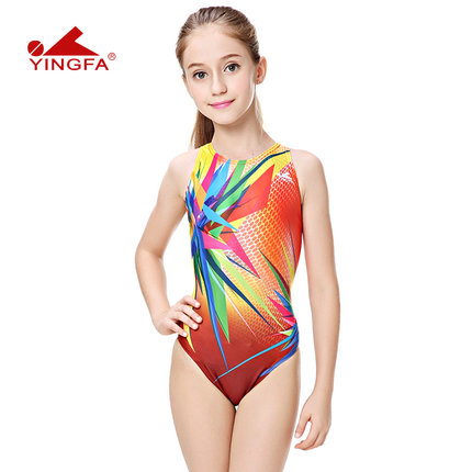 38451d5b5fba3 Yingfa children training swimwear kids swimming racing suit competition  swimsuits girls professional swim solid child
