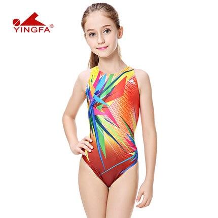 f88f18a283fb1 Yingfa children training swimwear kids swimming racing suit competition swimsuits  girls professional swim solid child