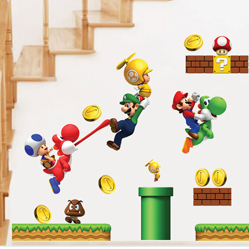 Cartoon Stickers Super Mario Wall Stickers For Kids Rooms