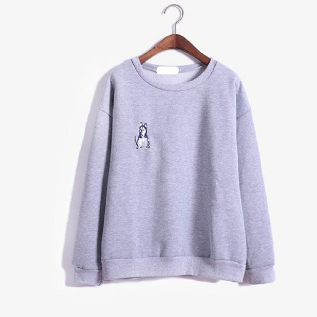 2018 Kawaii Women Fall New Fleece Husky Embroidery Pullover Harajuku Sweatshirt Thickening Cute Korean Female Fleece Svitshot