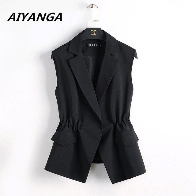 S-2XL Neue OL mode frauen Anzug weste kurze stil Elastische taille schlank elegant büro big größe weibliche tops schwarz weiß jacken