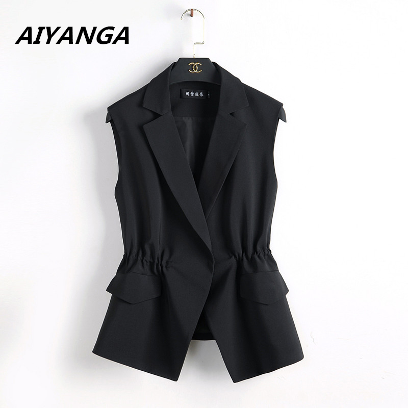 S-2XL New OL Fashion Women Suit Vest Short Style Elastic Waist Slim Elegant Office Big Size Female Tops Black White Jackets
