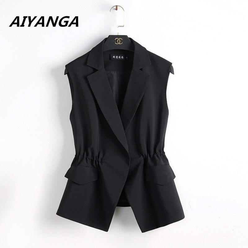 S-2XL Nouvelle OL de mode femmes Costume gilet court style Élastique taille mince élégant bureau grande taille femme tops noir blanc vestes