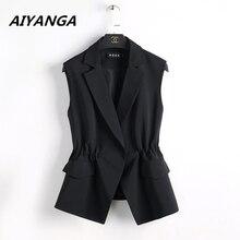 S 2XL חדש OL אופנה נשים חליפת אפוד קצר סגנון אלסטי מותניים slim אלגנטי משרד גדול גודל נקבה חולצות שחור לבן מעילים