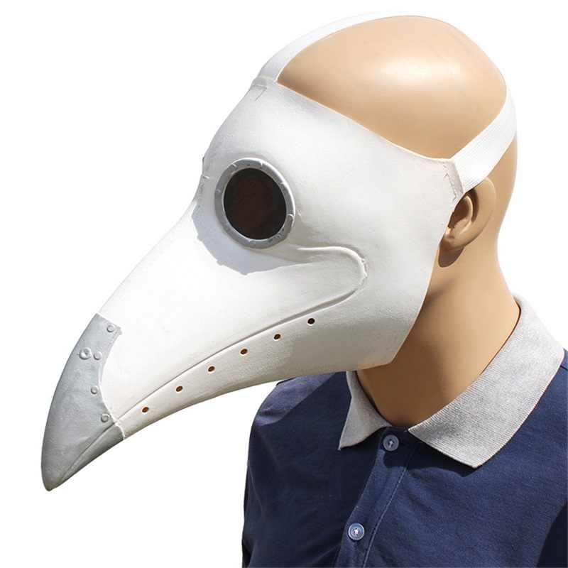 Plague Doctor Cosplay Costumes Steampunk Bird Mask Costume Fancy Dress Latex Masks Halloween Party White/Black Bird Beak Masks