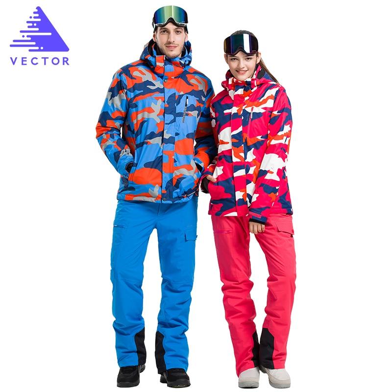 Prix pour VECTEUR De Ski De Marque Costumes Hommes Femmes Vestes + Pantalon Professionnel Hiver Au Chaud Imperméable Ski Snowboard Vêtements Ensemble