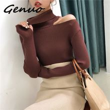 Genuo New Women Pullovers Sweater 2019 Knitting Autumn Winter Turtleneck Sexy Hollow Out Off Shoulder Casual Ladies Tops
