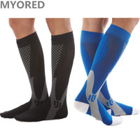 MYORED Brand New Men Women Compression Socks High Quality Unisex Knee High Leg Support Stretch Nylon