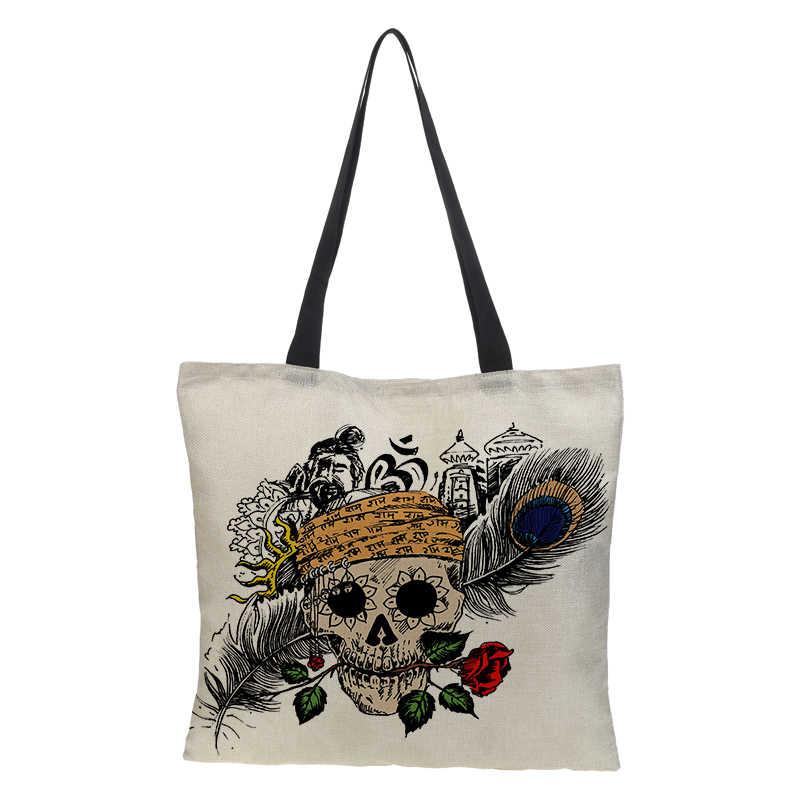 be09fcea1d26 ... Оригинальная сумка-шоппер Для женщин сумка двусторонняя печать узор  складной многоразовые мешковины сумка хозяйственная сумка ...