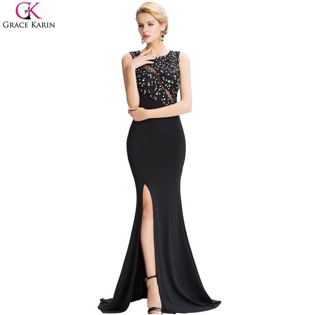 a9ff34187 Grace karin 2017 con cuentas sexy dividir opacidad volver negro sirena  larga vestidos de baile crew