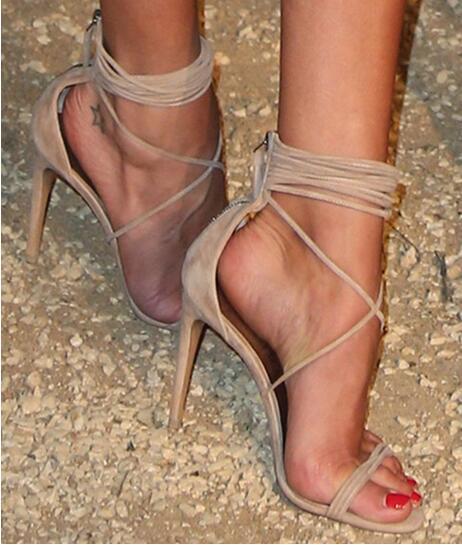 2017 Summer Fashion Shoes Celebrity Carpet Same Model Suede Leather Strappy Sandals Stiletto Cross Strap Back Zipper Dress Shoes denim zipper hollow worn stiletto womens sandals