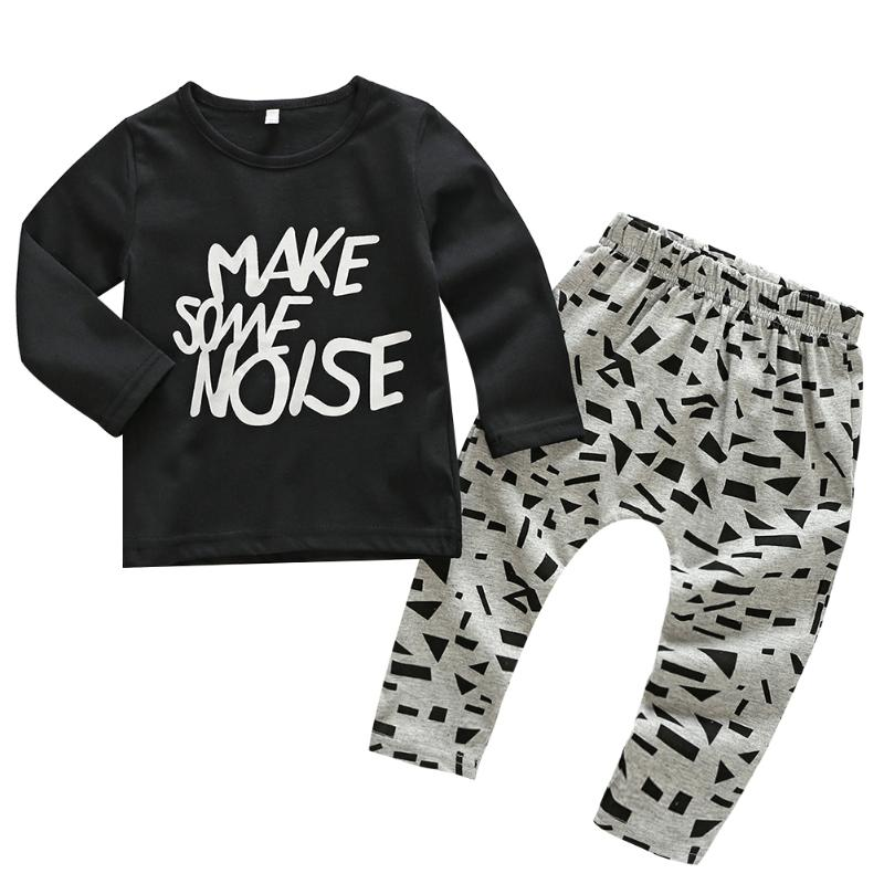 2pcs/Set Spring Baby Fashional Letter Printed Clothes Set Letters Cartoon Long Sleeve T-shirt + Pants For Baby Girls& Boys