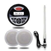 Водонепроницаемый морской Bluetooth аудио стерео радиоплеер + 1 пара 4 дюйма Водонепроницаемый колонки для Лодка ATV спа гольф-кары + антенна fm