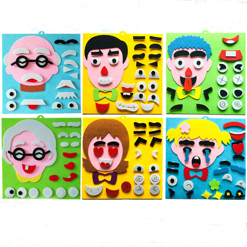 Child Toy DIY Stickers Kindergarten Toy Material Package Children Toys Facial Expressions Montessori Kids Craft Kits