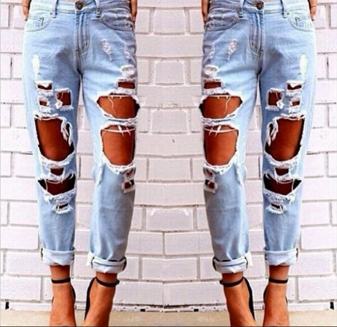 Sexy Plus Size Loose Hole Ripped Jeans Pants Women Light Blue Casual Long Denim Trousers