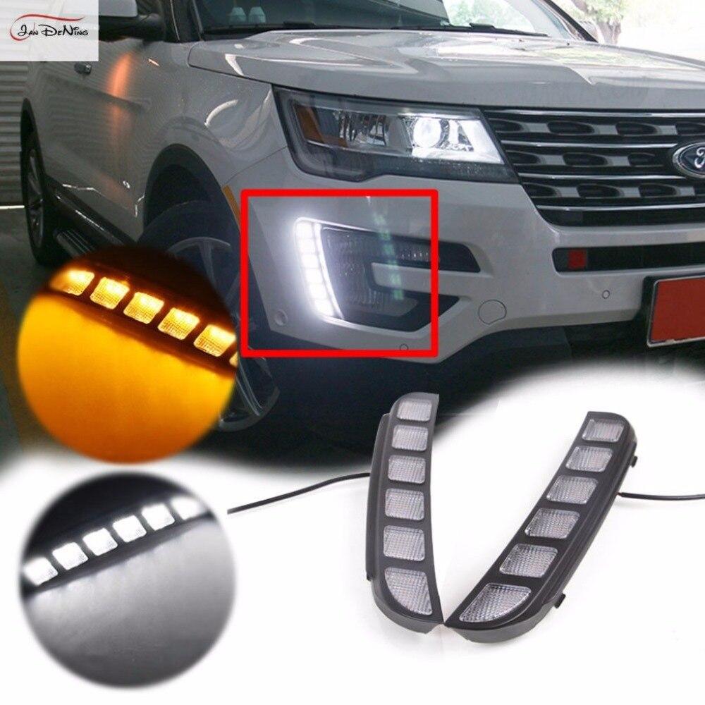 JanDeNing 2 шт светодиодный DRL передний бампер сигнальные огни переключатель комплект подходит 2016 up Ford Explorer