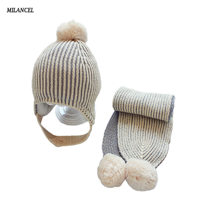 05851946a5f Best buy MILANCEL 2017 Winter Baby Set Knitted Baby Hat And Scarf 2 Pcs Set  Warm Baby Girls Boys Hats Thicken Lining Baby Caps online cheap