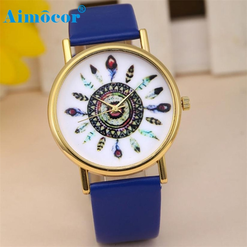 2017 Newly Designed Relogio Feminino Clock Women Fashion Vintage Feather Dial Leather Band Quartz Analog Wrist Watches Gift 627